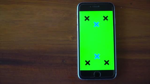 empty mobile phone green screen