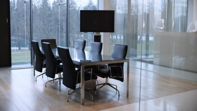 ds empty modern conference room - chair stock videos & royalty-free footage