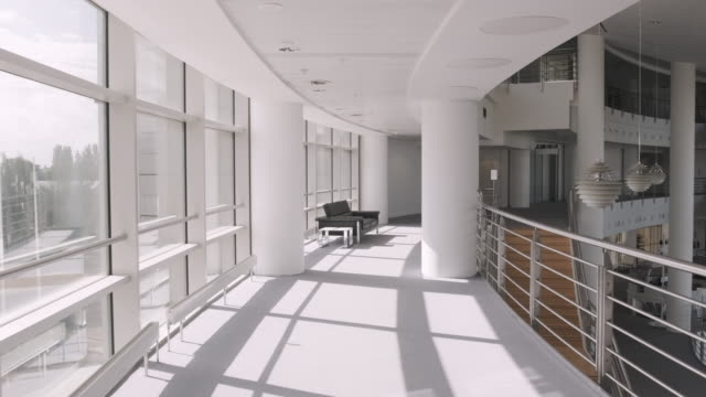 empty modern corporate business office lobby - modern stock videos & royalty-free footage