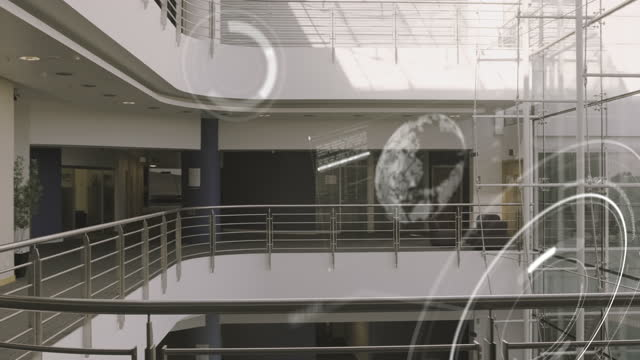 empty modern corporate business office lobby with virtual graphics of globe and chart - headquarters stock videos & royalty-free footage