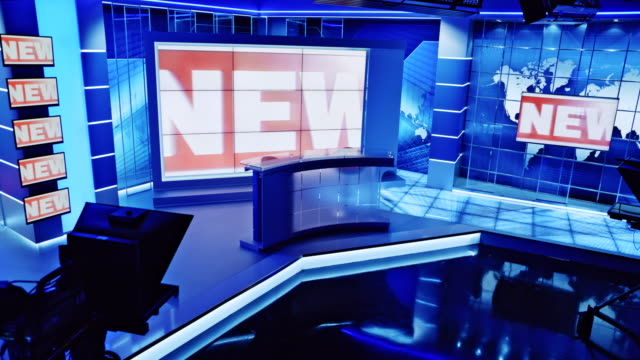 ld empty news studio with the news intro displaying on the screen - press room stock videos & royalty-free footage