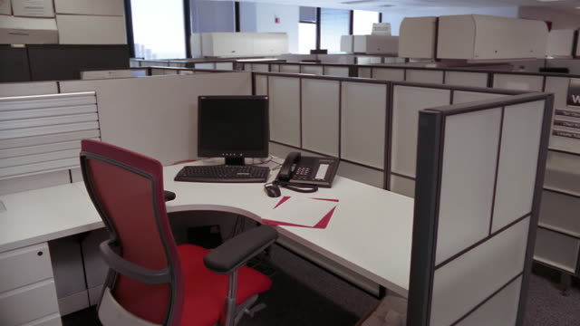 ms, empty office cubicle, new york city, new york, usa  - office partition stock videos & royalty-free footage
