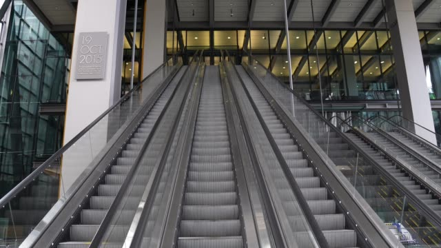 empty office escalators in the city of london on august 02 2020 in london england the future of offices in the uk is looking uncertain as companies... - building feature stock videos & royalty-free footage