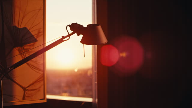 empty office interior at sunset. lamp and window in warm sunlight - office chair stock videos & royalty-free footage