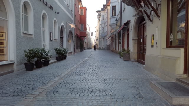 empty old town street during coronavirus pandemic - germany stock videos & royalty-free footage
