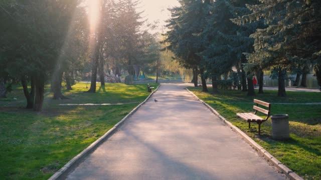 vidéos et rushes de parc vide pendant covid 19 quarantaine - parc public