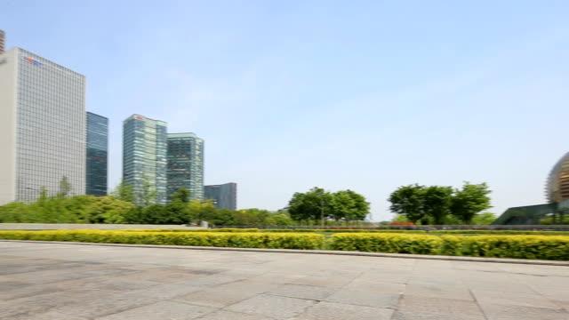 empty pedestrians sidewalk near modern buildings - pavement stock videos & royalty-free footage