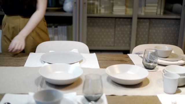 empty plate and cutlery on a wonderful table at restaurant - cutlery stock videos & royalty-free footage
