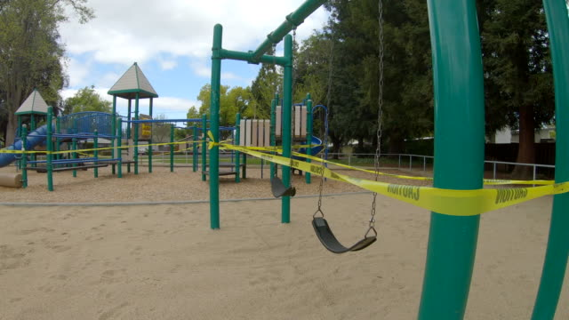 empty playground during covid19 coronavirus in palo alto, california - playground stock videos & royalty-free footage