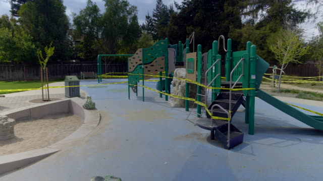 empty playground in mountain view, california at coronavirus pandemic time. - playground stock videos & royalty-free footage