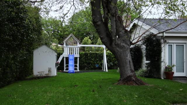 WS Empty playset in backyard / Hooker, OK, United States