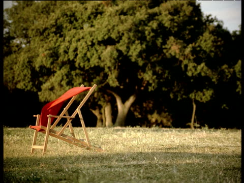 empty red deck chair in field near trees england - outdoor chair stock videos & royalty-free footage