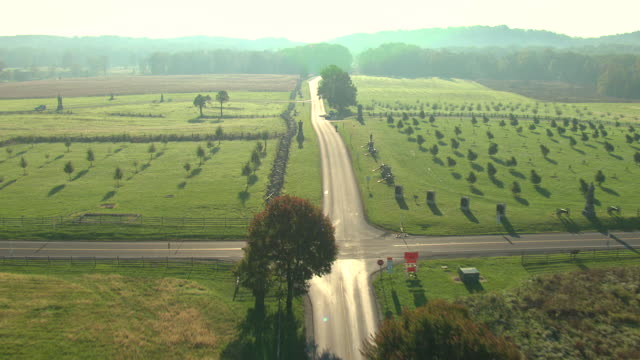 ms aerial empty road at gettysburg national military cemetery / pennsylvania, united states - gettysburg stock-videos und b-roll-filmmaterial
