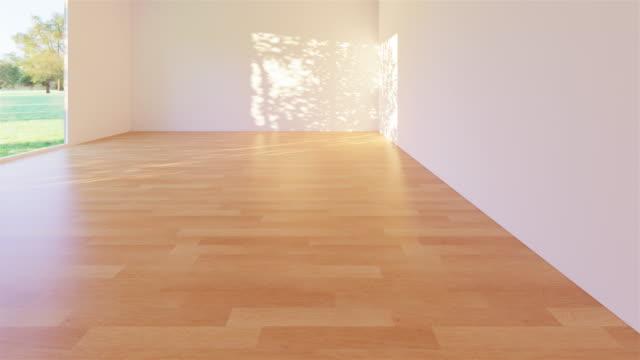 vídeos de stock, filmes e b-roll de assoalho de madeira vazio do quarto - espaço vazio