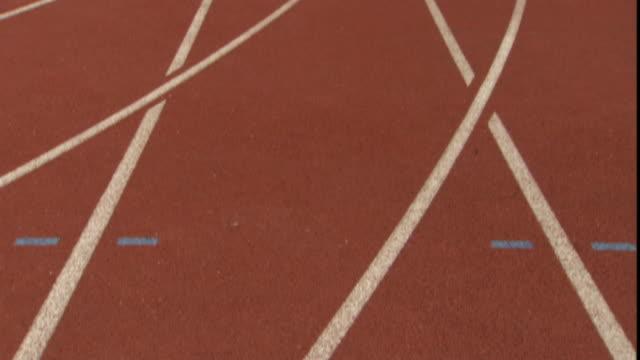 CU TU Empty running track in stadium/ Sheffield, England