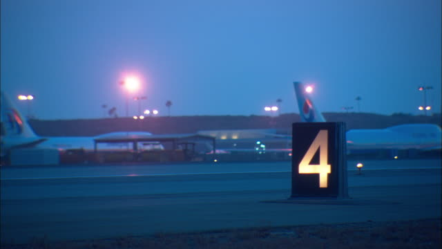 MS, Empty runway 4 at night, Los Angeles International Airport, Los Angeles, California, USA