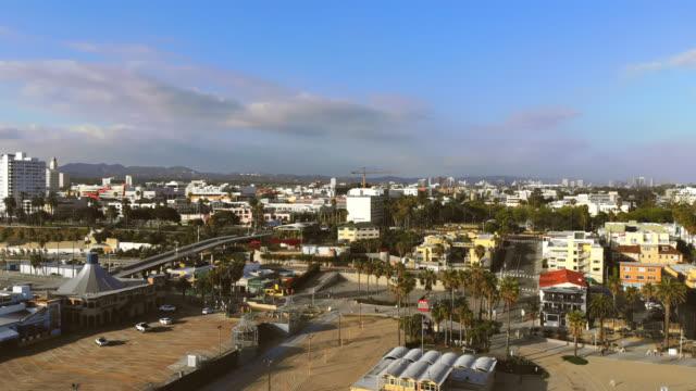 empty santa monica beach closed due to covid-19. - santa monica stock videos & royalty-free footage