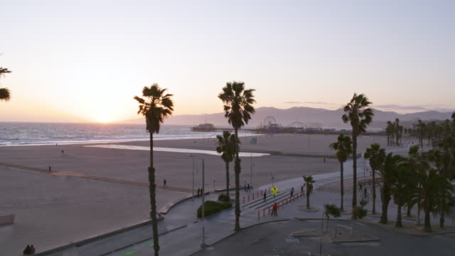 empty santa monica beach during covid-19 pandemic - city of los angeles stock videos & royalty-free footage