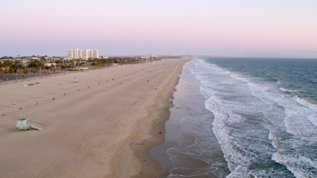 empty santa monica beach during covid-19 pandemic - santa monica stock videos & royalty-free footage
