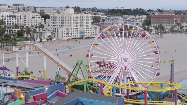 empty santa monica pier during covid-19 pandemic - pier stock videos & royalty-free footage
