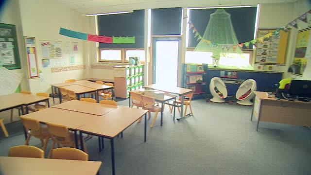 "empty school classroom during coronavirus lockdown - ""bbc news"" stock videos & royalty-free footage"