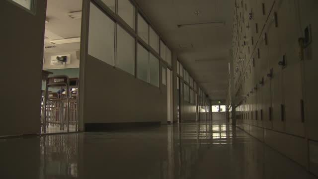 empty school corridor and classroom, tokyo, japan - secondary school stock videos & royalty-free footage