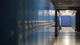 Empty School Hallway Lockers Rack Focus