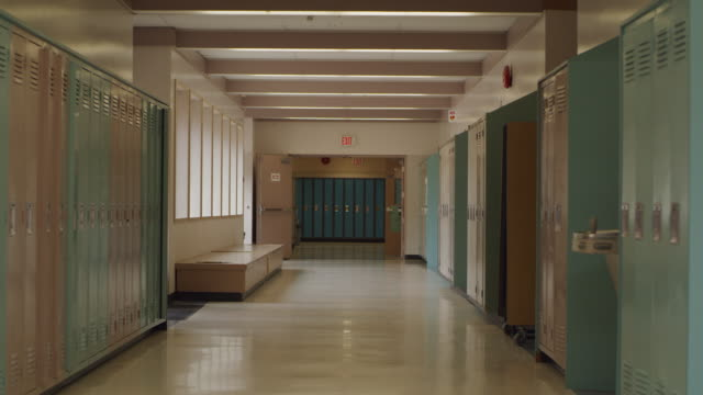 empty school hallway with lockers - corridor stock videos & royalty-free footage