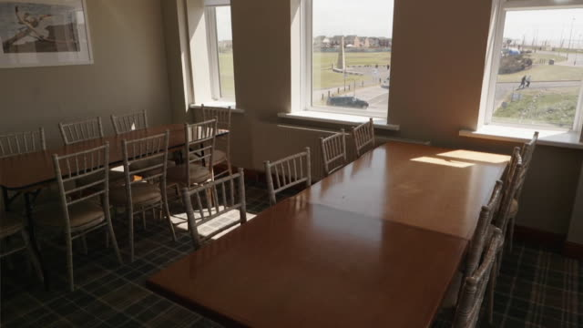 empty seafront hotel restaurant in cleveleys lancashire closed during coronavirus lockdown - domestic room stock videos & royalty-free footage