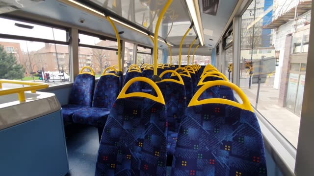 empty seats on a bus in south east london during the coronavirus pandemic on march 20 2020 in london england - brian dayle coronavirus stock videos & royalty-free footage