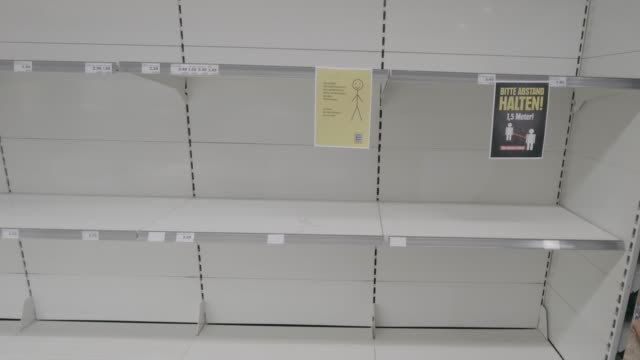 empty shelves during coronavirus covid-19 in german supermarket - shelf stock videos & royalty-free footage