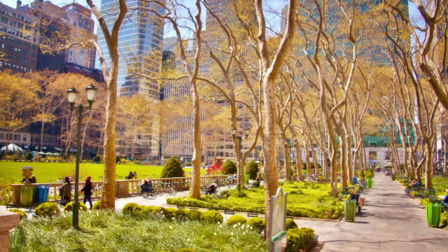 empty spring bryant park, renewal, leafs, new life, symbol of reopen new york after pandemic. - manhattan new york city stock videos & royalty-free footage