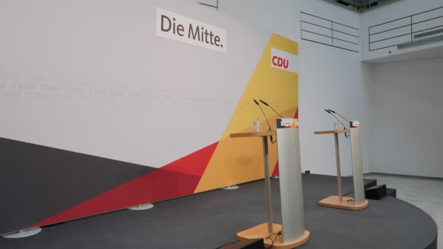 empty stage with a billboard that reads the center before annegret krampkarrenbauer's press conference at the konrad adenauer haus christ democrats... - the center stock videos & royalty-free footage