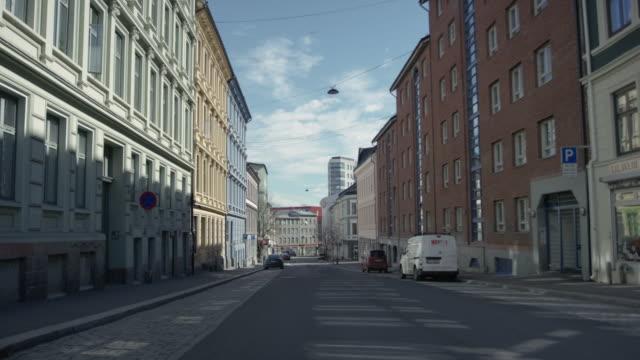 empty street during coronavirus pandemic in oslo, norway - norway stock videos & royalty-free footage