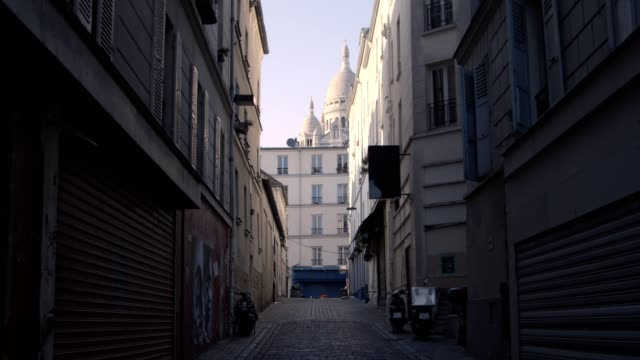 empty street in montmartre - paris france stock videos & royalty-free footage