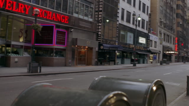 ms, pan, shaky, empty street, new york city, new york, usa  - western script stock videos & royalty-free footage