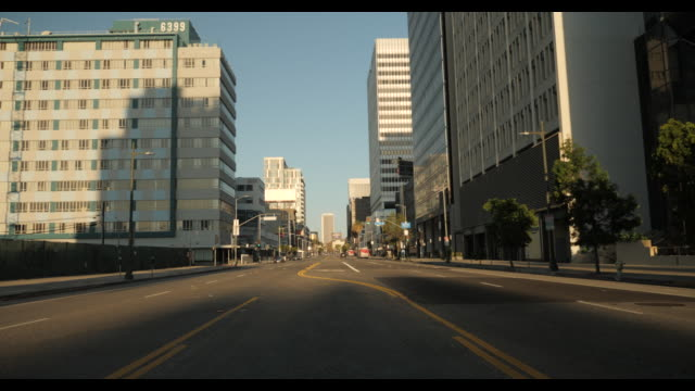 empty street wilshire blvd in los angeles / beverly hills - no traffic - strada vuota video stock e b–roll
