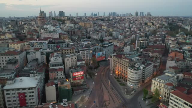 empty streets are seen in the karakoy district on the final day of a four-day lockdown across istanbul on april 26 in istanbul, turkey. turkey's... - non urban scene stock-videos und b-roll-filmmaterial