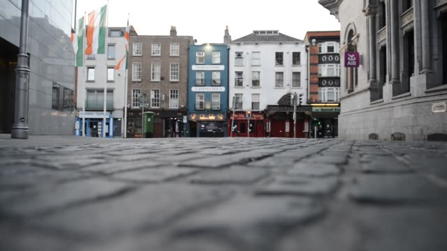 empty streets during covid 19 global pandemic, dublin, ireland. - arts culture and entertainment stock videos & royalty-free footage