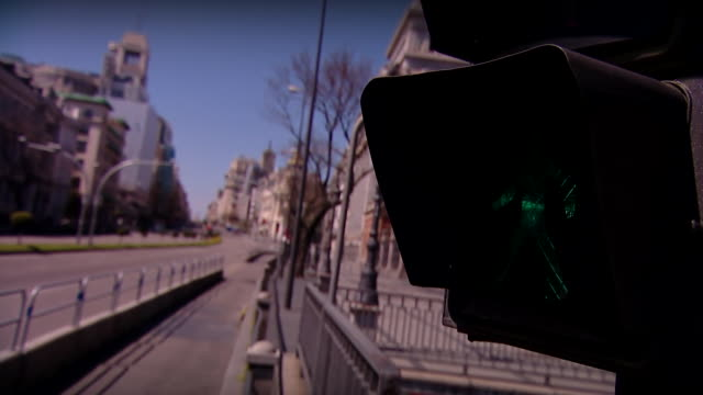 empty streets in madrid during the coronavirus lockdown - inquadratura fissa video stock e b–roll