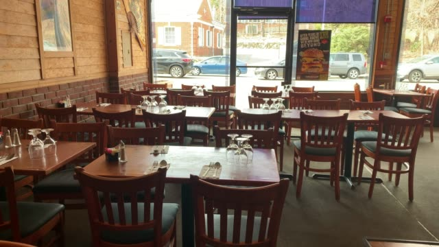 empty streets restaurants and cafes make up the business area in the one mile containment zone on march 11 2020 in new rochelle new york new rochelle... - restaurant stock videos & royalty-free footage