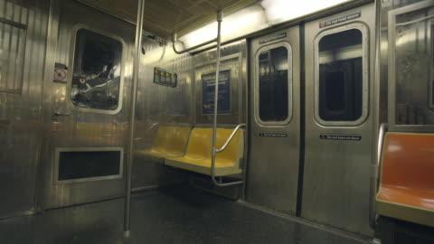 empty subway interior - vehicle interior stock videos & royalty-free footage