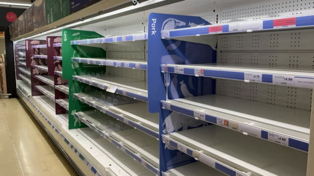 empty supermarket shelves in sainsbury in wandsworth as people panic buy due to coronavirus pandemic - fear stock videos & royalty-free footage