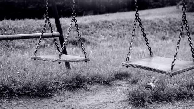 Empty swing swaying