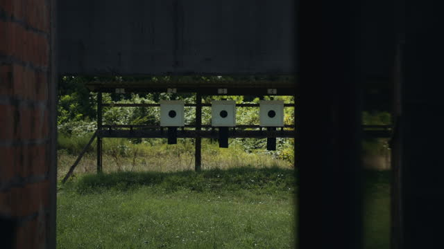 empty targets in shooting range - serbia stock videos & royalty-free footage