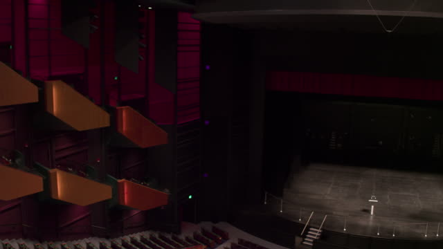 empty theatre with camera zooming down from the side onto stage. - auditorium stock videos and b-roll footage