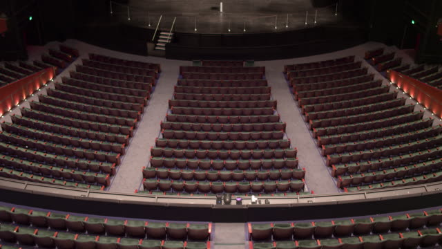 empty theatre with camera zooming down the centre onto stage. - sparse stock videos and b-roll footage
