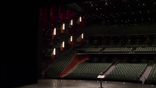 Empty theatre with camera zooming upwards from stage to gallery.