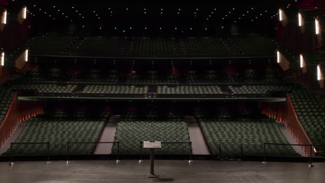 empty theatre with camera zooming upwards from stage to the top of theatre. - auditorium stock videos & royalty-free footage