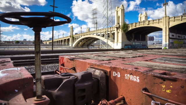 Empty Train in Railyard - Timelapse